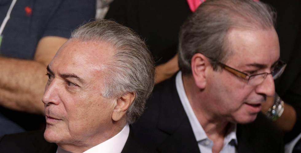 Michel Temer y Eduardo Cunha, en un acto del PMDB en Brasilia, este marzo.
