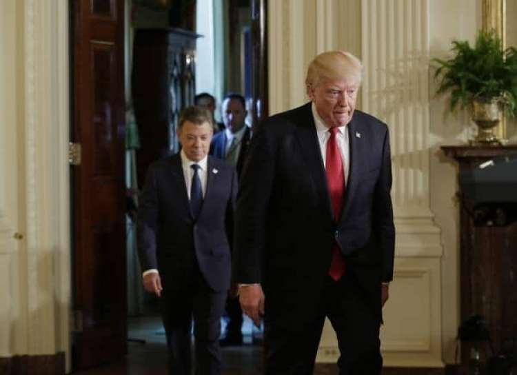 Donald Trump y Juan Manuel Santos en la Casa Blanca (REUTERS)