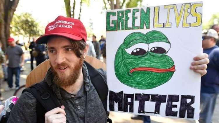 Pepe se convirtió en un símbolo de un sector extremo entre los simpatizantes del actual presidente Donald Trump, la Alt-Right (Josh Edelson/AFP/Getty Images)