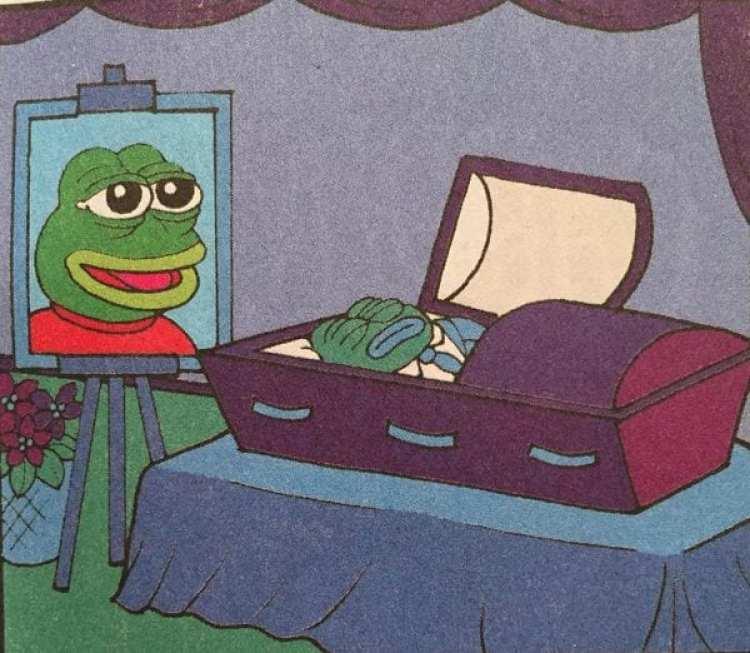 La última aparición de Pepe The Frog en la historieta de Matt Furie: en su ataúd.