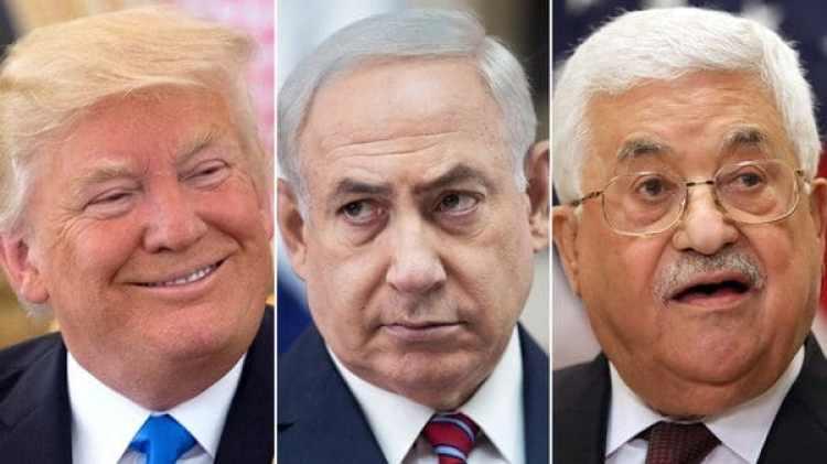 Donald Trump, Benjamin Netanyahu y Mahmoud Abbas
