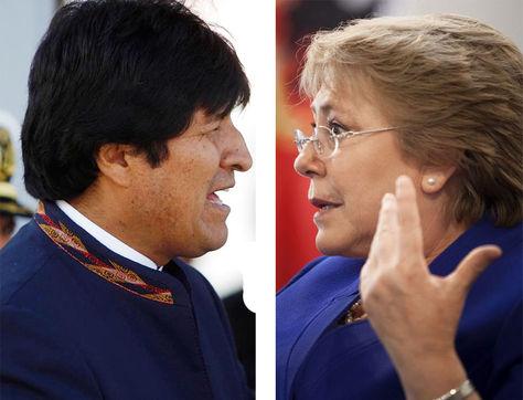 El presidente de Bolivia, Evo Morales y la presidenta de Chile Michelle Bachelet.