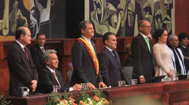 El mandatario saliente Rafael Correa en la Asamblea Nacional. Foto: Andrés García/EL COMERCIO