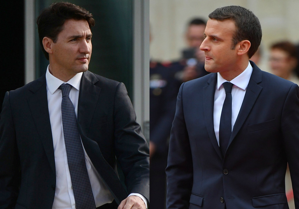 Justin Trudeau, Emmanuel Macron