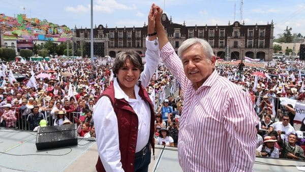 Delfina Gómez, en campaña junto a Andrés Manuel López Obrador
