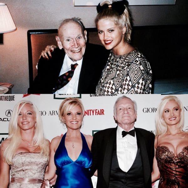 El caso de la fallecida ex conejita de Playboy Anna Nicole Smith es, tal vez, uno de los más representativos de lo que se conoce como un casamiento por conveniencia. La modelo conoció al magnate petrolero J. Howard Marshall en un club de desnudistas donde trabajaba. Al tiempo se casaría con el hombre 63 años mayor y protagonizaría una publicitada lucha por su herencia. Debajo, Hugh Hefner, uno de los tantos hombres adinerados que han hecho pública su predilección por las mujeres más jóvenes
