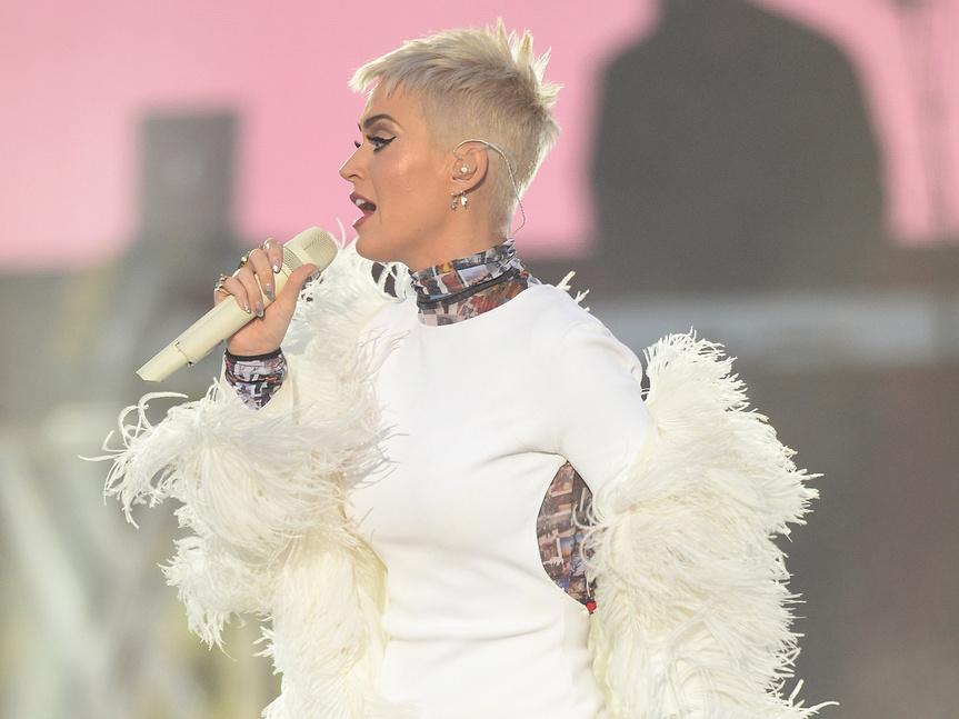 Katy Perry, en su actuación en Manchester.
