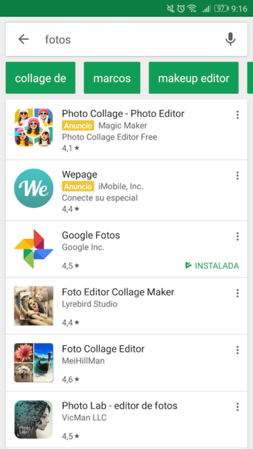 sugerencias en google Play Store