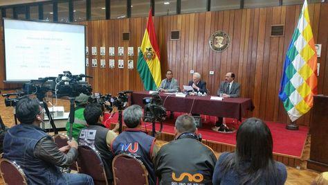 El presidente del BCB, Pablo Ramos, en conferencia de prensa sobre el primer pago de El Salvador por los LETE.