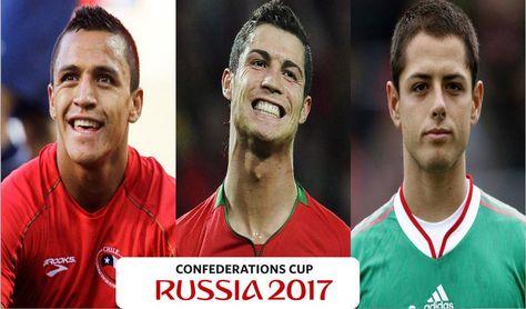 (De izq. a der.) Alexis Sánchez, Cristiano Ronaldo y Javier Hernández estarán en la Copa Confederaciones de Rusia 2017