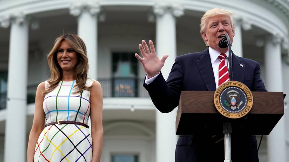 Donald y Melania Trump este jueves en la Casa Blanca.