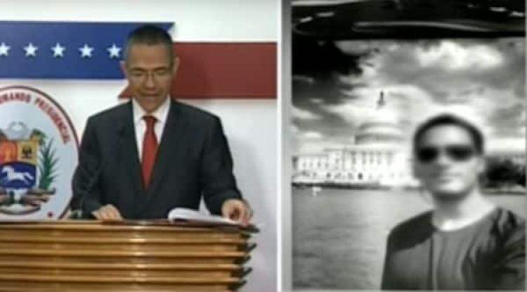 """El ministro Ernesto Villegas muestra una fotografía de Oscar Pérez con el Capitolio de fondo durante una supuesta visita del piloto rebelde a Washington DC. Lo vinculó con la CIA, la Embajada de los Estados Unidos y """"poderes extranjeros"""""""