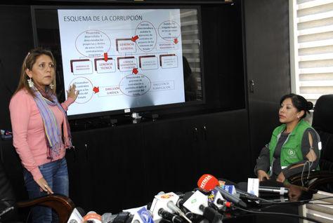La ministra Gisela López durante la conferencia de prensa en la que denunció las sospechas de corrupción en Bolivia TV. Foto: ABI