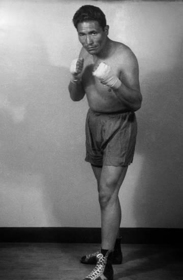 Un boxeador, en una imagen captada a finales de los años cincuenta.