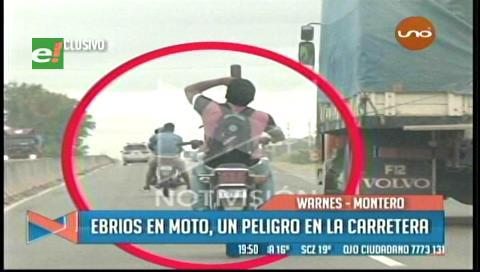 Video: El momento en que un motociclista ebrio se accidenta en la ruta a Warnes