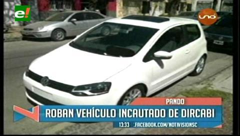 Roban vehículo incautado de Dircabi en Pando