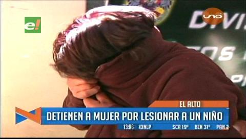 El Alto: Detienen a mujer por golpear a un niño de 4 años con un candado