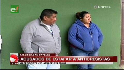 Detienen a pareja acusada de estafar con contratos de anticrético