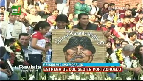 Evo Morales entrega un coliseo en Portachuelo