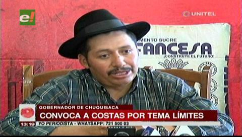 Gobernador Urquizo convoca a Costas por el tema límites