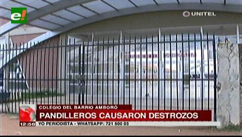 Pandilleros causan destrozos en una unidad educativa del barrio Amboró