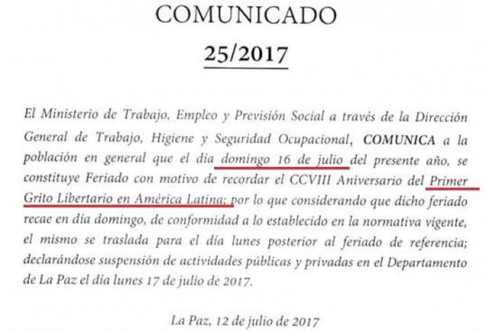 Este es el comunicado del Ministerio de Trabajo.