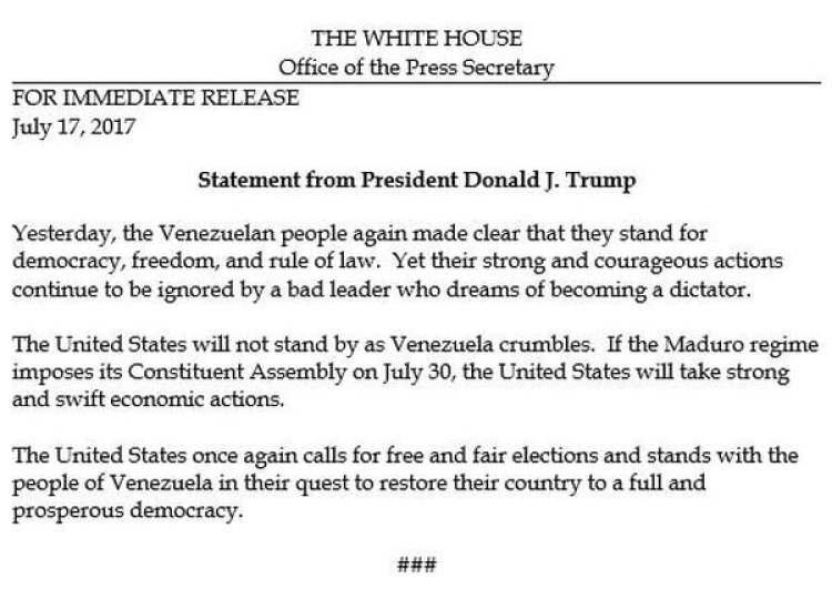 El comunicado de la Casa Blanca