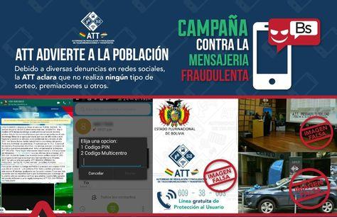 La Autoridad de Regulación y Fiscalización de Telecomunicaciones y Transportes insta a denunciar mensajes fraudulentos.