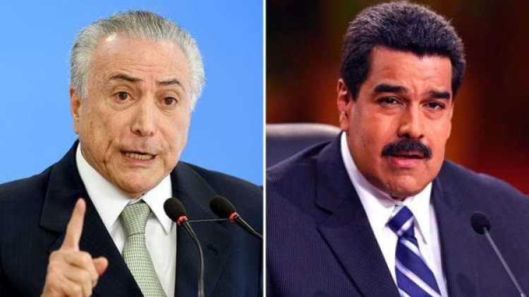 El presidente brasileño Michel Temer y su par Nicolás Maduro