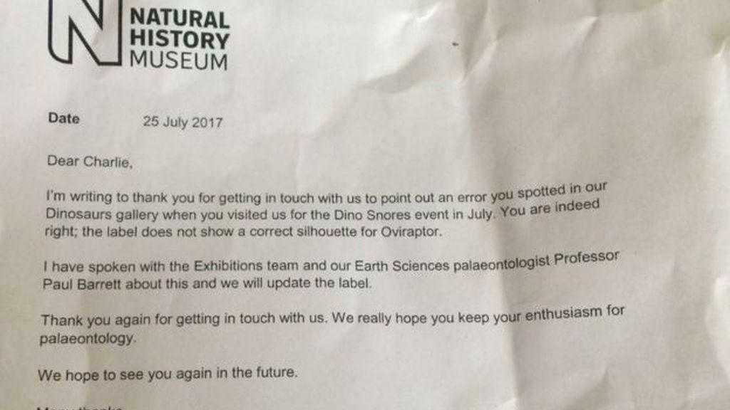La carta que enviaron los responsables del museo a la familia de Charlie.