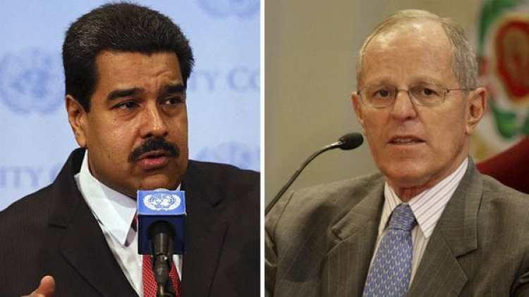 """El presidente de Venezuela Nicolás Maduro calificó al presidente de Perú, Pedro Pablo Kuczynski, de """"inmoral"""" y lo acusó de ser """"un agente de Estados Unidos"""""""