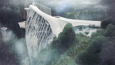 Titánico proyecto futurista de un hotel 'multi estrellas' en un paisaje alpino