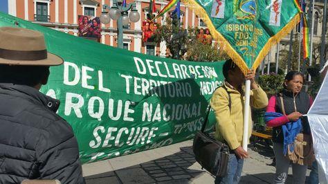Protesta en defensa del TIPNIS en plaza Murillo. Foto:Angel Guarachi