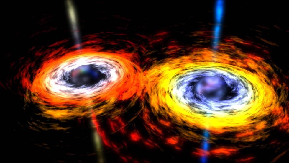 Recreación de una pareja de agujeros negros a punto de fusionarse