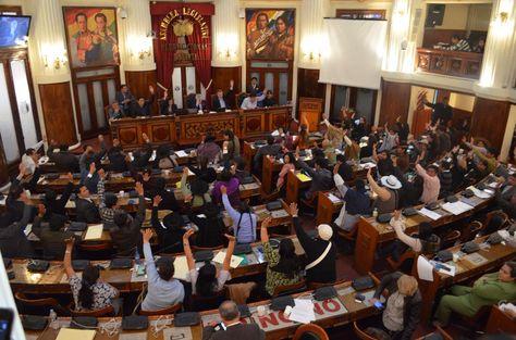 Legisladores oficialistas votan por el voto de confianza en favor del ministro Ferreira.