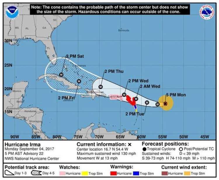 Pronóstico del Huracán Irma. Boletín de las 5 pm – lunes 4
