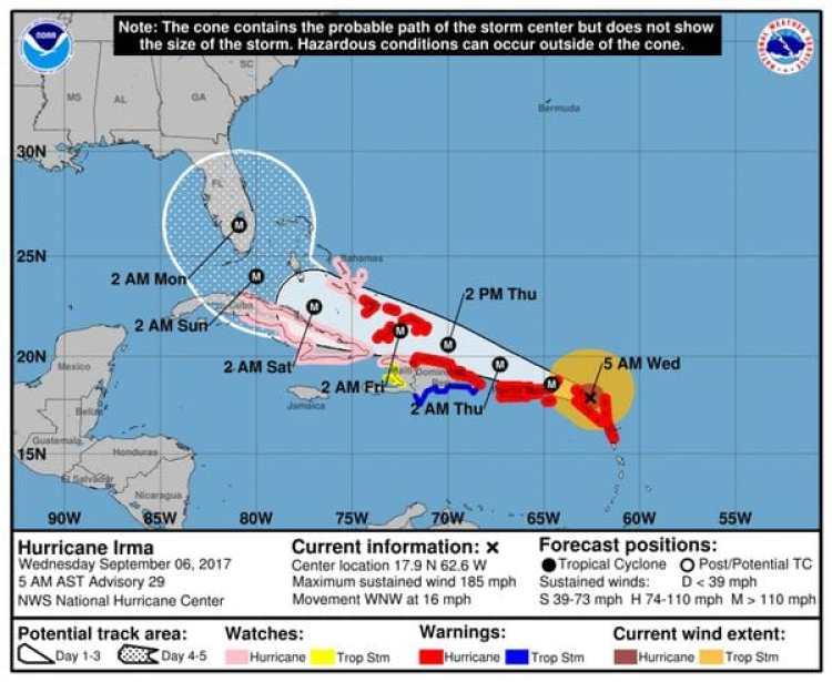 Pronóstico del Huracán Irma. Boletín de las 5 am – miércoles 6