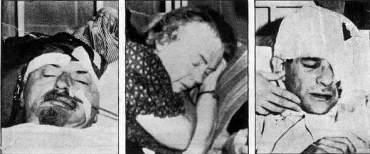 Leon Trotsky en el hospital, su esposa Natlia y Ramón Mercader, quien también resultó herido durante el ataque (Getty Images)