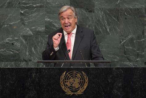 Antonio Guterres brinda su discurso de apertura en la Asamblea General de la ONU. Foto: AFP