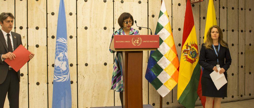 Resultado de imagen de La embajadora Representante Permanente ante la Organización de las Naciones Unidas (ONU) en Ginebra, Suiza, Nardy Suxo,