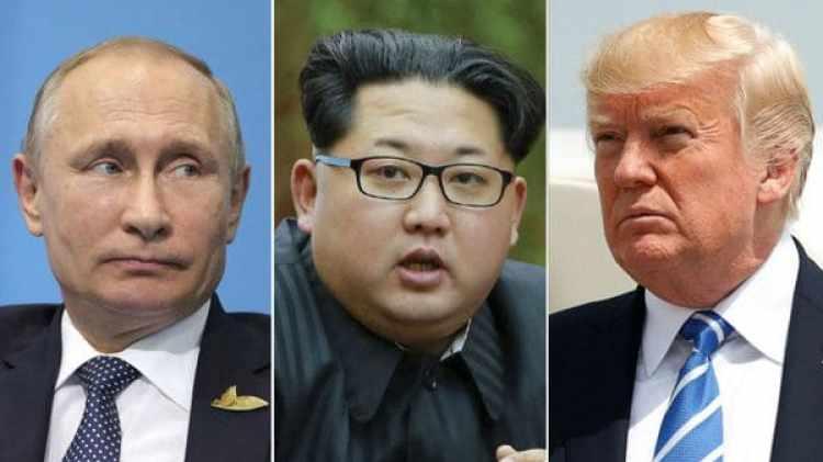 El presidente ruso Vladrimir Putin, el dictador de Corea del Norte Kim Jong-un y el presidente de EEUU Donald Trump