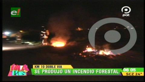 Incendio de pastizales en el Km 10 de la doble vía a La Guardia