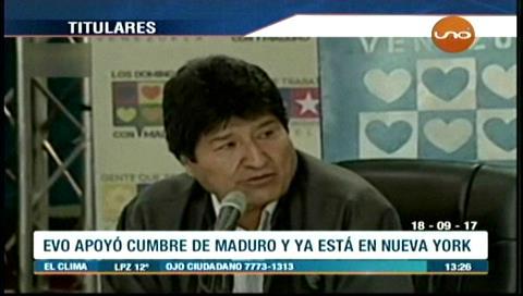 Video titulares de noticias de TV – Bolivia, mediodía del lunes 18 de septiembre de 2017