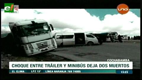 Fatal accidente en la carretera Cochabamba-Oruro deja dos muertos