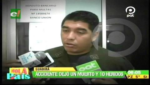 Guabirá: Accidente deja un muerto y diez heridos