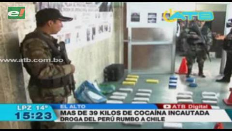Incautan 39 kilos de cocaína en La Paz y El Alto valuados en $us 390 mil