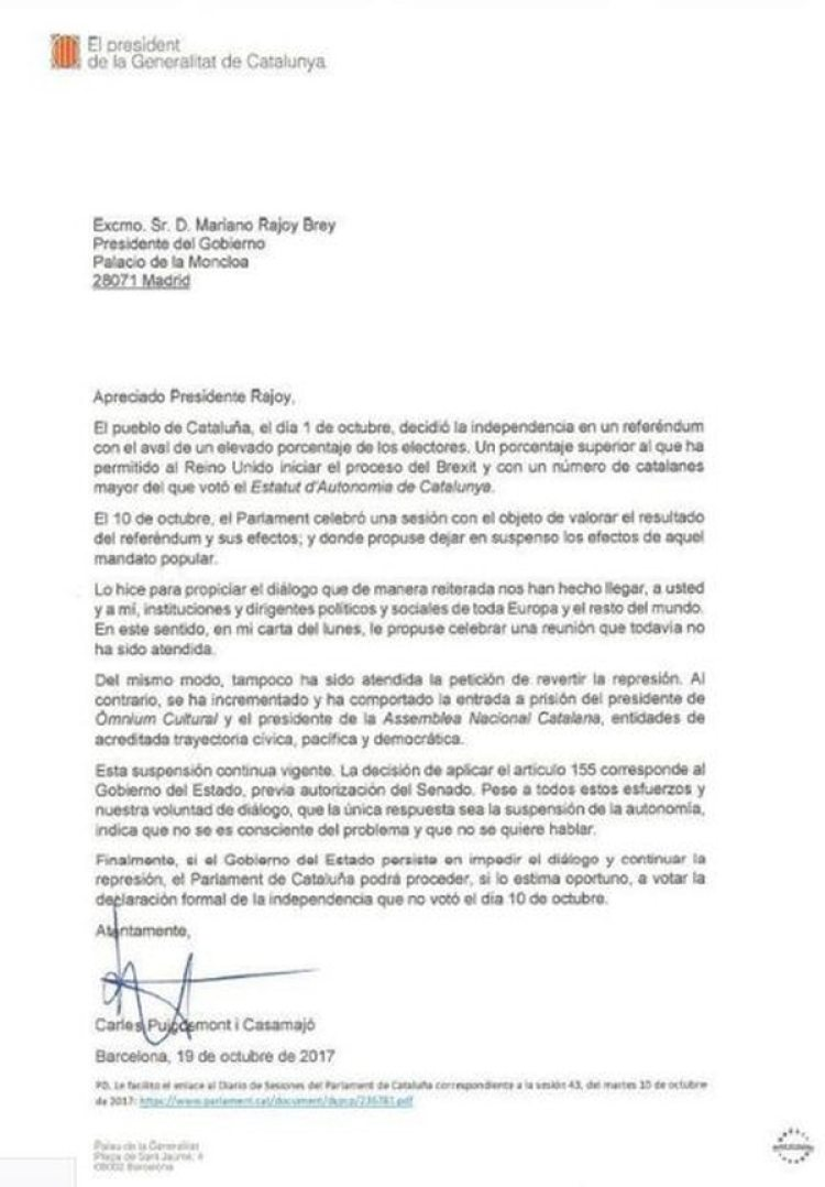 La carta de Carles Puigdemont a Mariano Rajoy