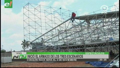 Comenzó el armado de los tres escenarios del Cosquín Rock Bolivia
