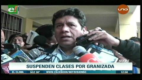 Sucre: Suspenden clases tras granizada