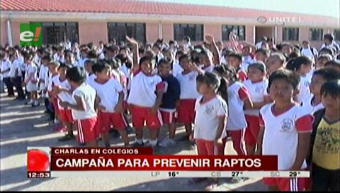Raptos: Policía realizó campaña de prevención en colegios de la Villa Primero de Mayo